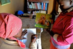 Checking out books in Lesotho